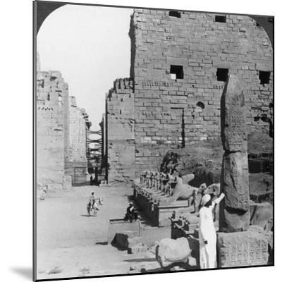 Avenue of Sacred Images after Excavation, Karnak, Thebes, Egypt, C1900-Underwood & Underwood-Mounted Photographic Print