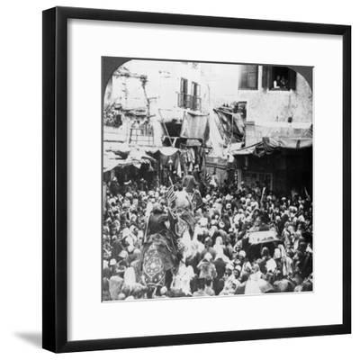 The Holy Carpet Parade with the Mahmal, Cairo, Egypt, 1905-Underwood & Underwood-Framed Photographic Print
