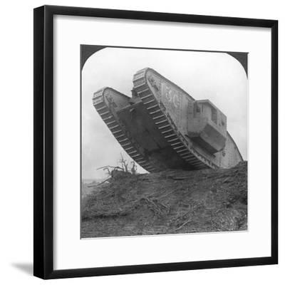 A Tank Breaking Through the Wire at Cambrai, France, World War I, C1917-C1918--Framed Photographic Print