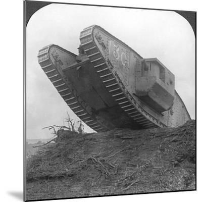 A Tank Breaking Through the Wire at Cambrai, France, World War I, C1917-C1918--Mounted Photographic Print