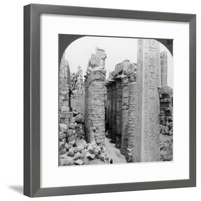 Middle Aisle of the Great Hall and Obelisk of Thutmosis I, Temple at Karnak, Thebes, Egypt, 1905-Underwood & Underwood-Framed Photographic Print