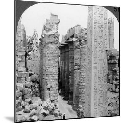 Middle Aisle of the Great Hall and Obelisk of Thutmosis I, Temple at Karnak, Thebes, Egypt, 1905-Underwood & Underwood-Mounted Photographic Print