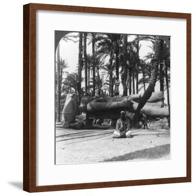 Statue of Ramses II, an Embellishment of His Temple at Memphis, Egypt, 1905-Underwood & Underwood-Framed Photographic Print