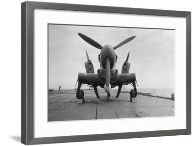 Fairey Firefly Aircraft Ready to Be Transported to the Hangar Lift, HMS Venerable, 1945--Framed Photographic Print