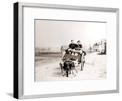Dogs Pulling Women on a Cart, Antwerp, 1898-James Batkin-Framed Photographic Print