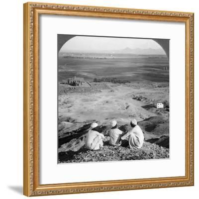 Across the Plain of Thebes and Past the Memnon Statues from the Cliffs, Egypt, 1905-Underwood & Underwood-Framed Photographic Print