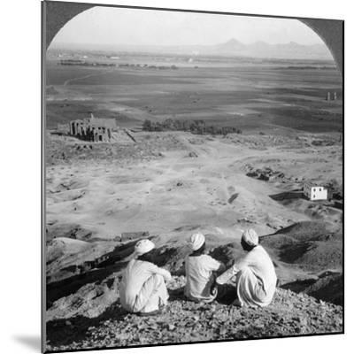 Across the Plain of Thebes and Past the Memnon Statues from the Cliffs, Egypt, 1905-Underwood & Underwood-Mounted Photographic Print