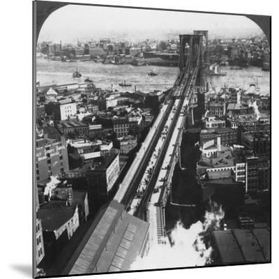 Brooklyn Bridge, New York City, New York, USA, Late 19th or Early 20th Century-Underwood & Underwood-Mounted Photographic Print