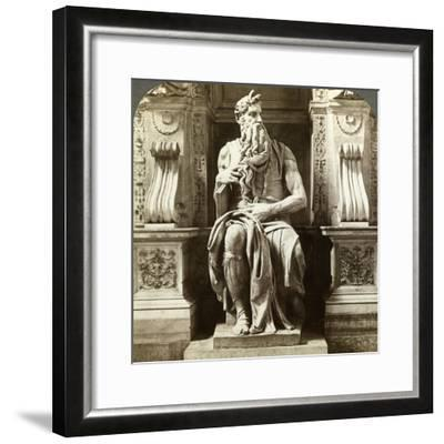 Michelangelo's Statue of Moses, Church of San Pietro in Vincoli, Rome, Italy-Underwood & Underwood-Framed Photographic Print