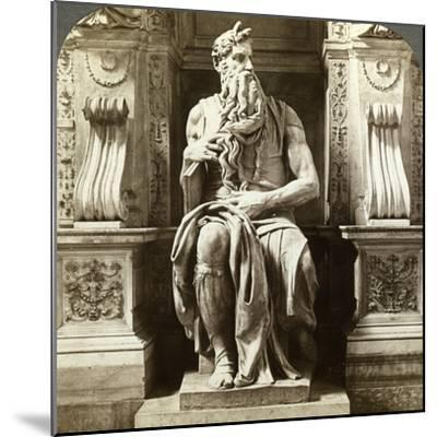 Michelangelo's Statue of Moses, Church of San Pietro in Vincoli, Rome, Italy-Underwood & Underwood-Mounted Photographic Print