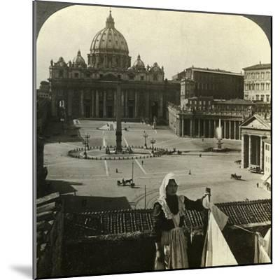 St Peter's Square and Basilica and the Vatican, Rome, Italy-Underwood & Underwood-Mounted Photographic Print