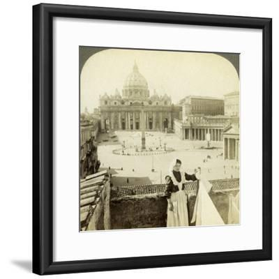 St Peter's Square and Basilica and the Vatican, Rome, Italy-Underwood & Underwood-Framed Photographic Print
