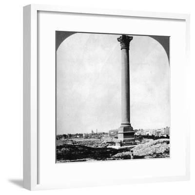 Pompey's Pillar, the Sailor's Landmark, and Modern Alexandria, Egypt, 1905-Underwood & Underwood-Framed Photographic Print