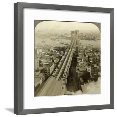 Brooklyn Bridge, New York, USA-Underwood & Underwood-Framed Photographic Print