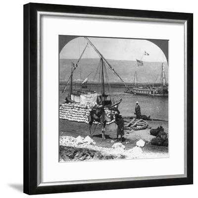 Dahabiyehs on the River Ready for a Nile Voyage, Egypt, 1905-Underwood & Underwood-Framed Photographic Print