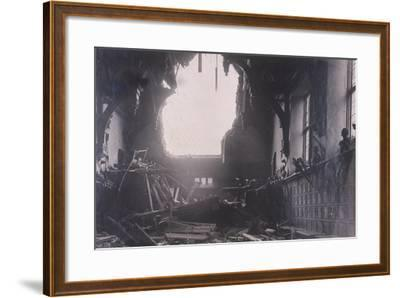 Interior View of Middle Temple Hall, City of London, after an Air Raid, C1941--Framed Photographic Print