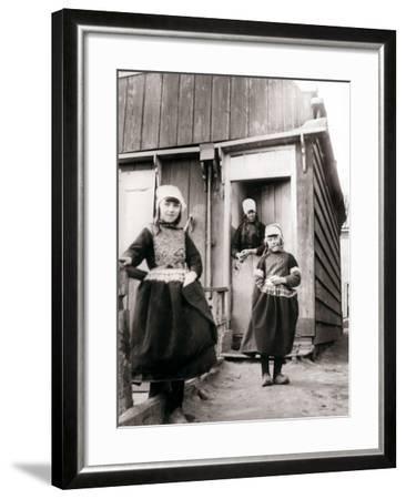 Girls in Traditional Dress, Marken Island, Netherlands, 1898-James Batkin-Framed Photographic Print