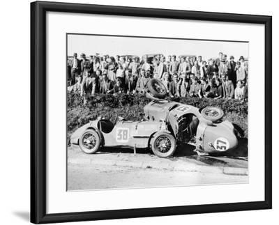 Two Crashed Cars from the Singer Nine Team, Possibly at a Ttrace, 1935--Framed Photographic Print