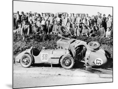 Two Crashed Cars from the Singer Nine Team, Possibly at a Ttrace, 1935--Mounted Photographic Print
