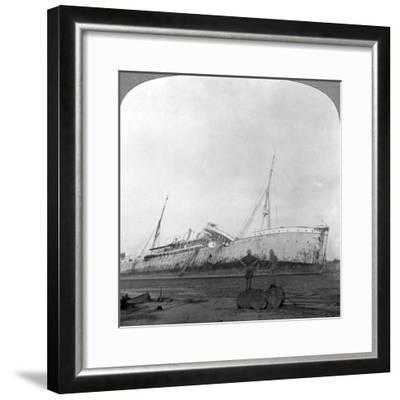 German Cruiser Sunk Off Dar Es Salaam, Tanzania, World War I, 1914-1918--Framed Photographic Print
