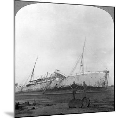 German Cruiser Sunk Off Dar Es Salaam, Tanzania, World War I, 1914-1918--Mounted Photographic Print