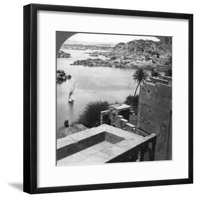 The Aswan Dam as Seen from the Philae Temple, Egypt, 1905-Underwood & Underwood-Framed Photographic Print