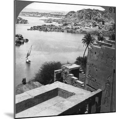 The Aswan Dam as Seen from the Philae Temple, Egypt, 1905-Underwood & Underwood-Mounted Photographic Print