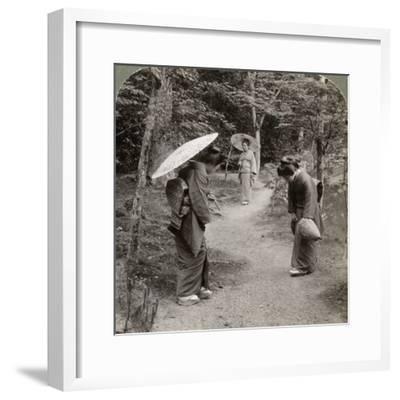 Women in the Kinkaku-Ji Temple Garden, Kyoto, Japan, 1904-Underwood & Underwood-Framed Photographic Print