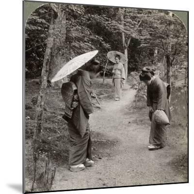 Women in the Kinkaku-Ji Temple Garden, Kyoto, Japan, 1904-Underwood & Underwood-Mounted Photographic Print