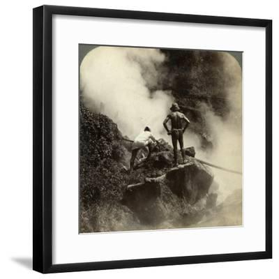 Watching an Eruption of Steam and Boiling Mud Halfway Up the Volcano of Aso-San, Japan, 1904-Underwood & Underwood-Framed Photographic Print