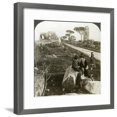 Tombs and Children in Traditional Dress, Appian Way, Rome, Italy-Underwood & Underwood-Framed Photographic Print