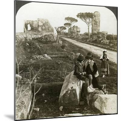 Tombs and Children in Traditional Dress, Appian Way, Rome, Italy-Underwood & Underwood-Mounted Photographic Print