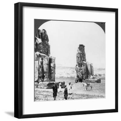 Colossal 'Memnon' Statues at Thebes, Egypt, 1905-Underwood & Underwood-Framed Photographic Print