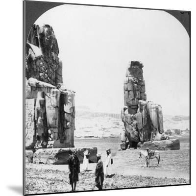 Colossal 'Memnon' Statues at Thebes, Egypt, 1905-Underwood & Underwood-Mounted Photographic Print