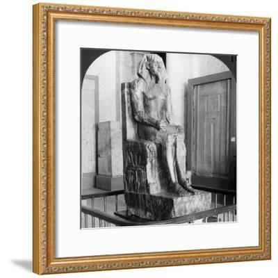 Diorite Statue of King Khafre, Builder of the Second Pyramid of Gizeh, Cairo, Egypt, 1905-Underwood & Underwood-Framed Photographic Print