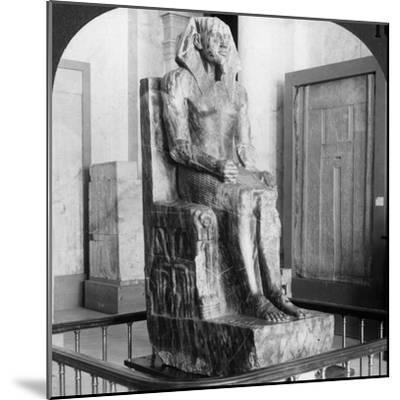 Diorite Statue of King Khafre, Builder of the Second Pyramid of Gizeh, Cairo, Egypt, 1905-Underwood & Underwood-Mounted Photographic Print