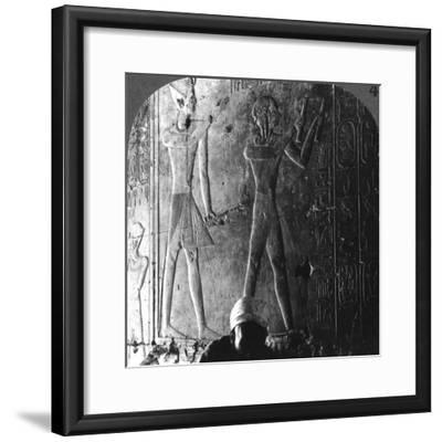 Sethos I and His Son Ramses II Worshiping their Ancestors, Abydos, Egypt, C1900-Underwood & Underwood-Framed Photographic Print