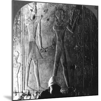 Sethos I and His Son Ramses II Worshiping their Ancestors, Abydos, Egypt, C1900-Underwood & Underwood-Mounted Photographic Print