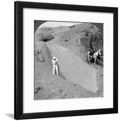 Ninety-Two Foot Obelisk Still Lying in the Quarry of Assuan (Aswa), Egypt, 1905-Underwood & Underwood-Framed Photographic Print