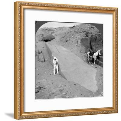 Ninety-Two Foot Obelisk Still Lying in the Quarry of Assuan (Aswa), Egypt, 1905-Underwood & Underwood-Framed Photographic Print