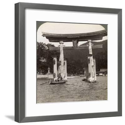 Sacred Torii Gate Rising from the Sea, Itsukushima Shrine, Miyajima Island, Japan, 1904-Underwood & Underwood-Framed Photographic Print