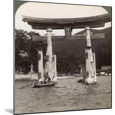 Sacred Torii Gate Rising from the Sea, Itsukushima Shrine, Miyajima Island, Japan, 1904-Underwood & Underwood-Mounted Photographic Print