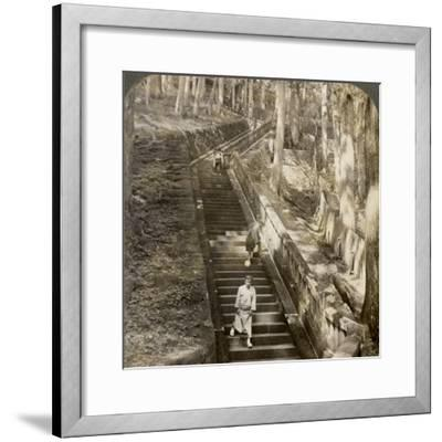 Ancient Stone Stairway Up the Hill to the Tomb of Shogun Ieyasu, Nikko, Japan, 1904-Underwood & Underwood-Framed Photographic Print
