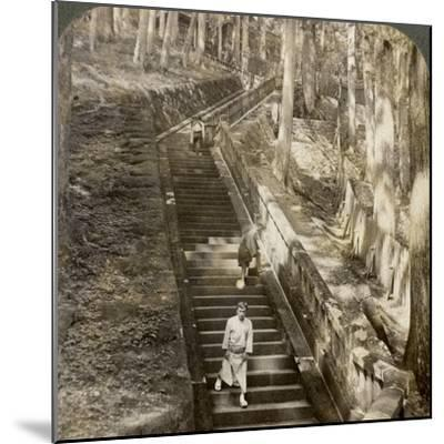 Ancient Stone Stairway Up the Hill to the Tomb of Shogun Ieyasu, Nikko, Japan, 1904-Underwood & Underwood-Mounted Photographic Print