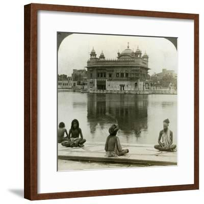 Fakirs at Amritsar, Looking South across the Sacred Tank to the Golden Temple, India, C1900s-Underwood & Underwood-Framed Photographic Print