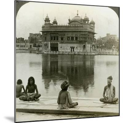 Fakirs at Amritsar, Looking South across the Sacred Tank to the Golden Temple, India, C1900s-Underwood & Underwood-Mounted Photographic Print