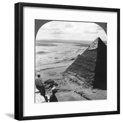 The Second Pyramid, Showing Part of the Original Covering, Egypt, 1905-Underwood & Underwood-Framed Photographic Print