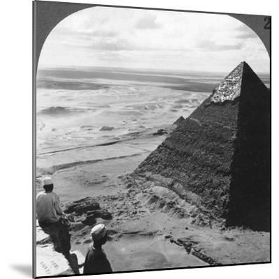 The Second Pyramid, Showing Part of the Original Covering, Egypt, 1905-Underwood & Underwood-Mounted Photographic Print