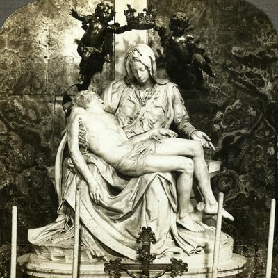 Pieta by Michelangelo, St Peter's Basilica, Rome, Italy-Underwood & Underwood-Framed Photographic Print