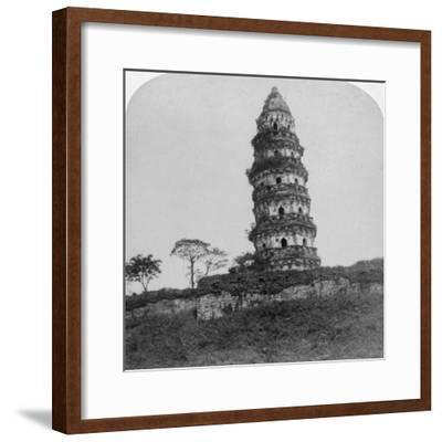 Tiger Hill Pagoda, the 'Leaning Tower, of Soo-Chow' (Suzho), China, 1900-Underwood & Underwood-Framed Photographic Print